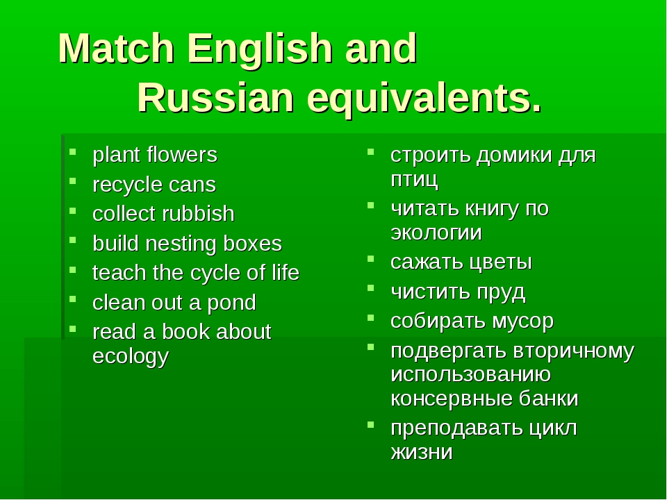 Match English and Russian equivalents. plant flowers recycle cans collect rub...