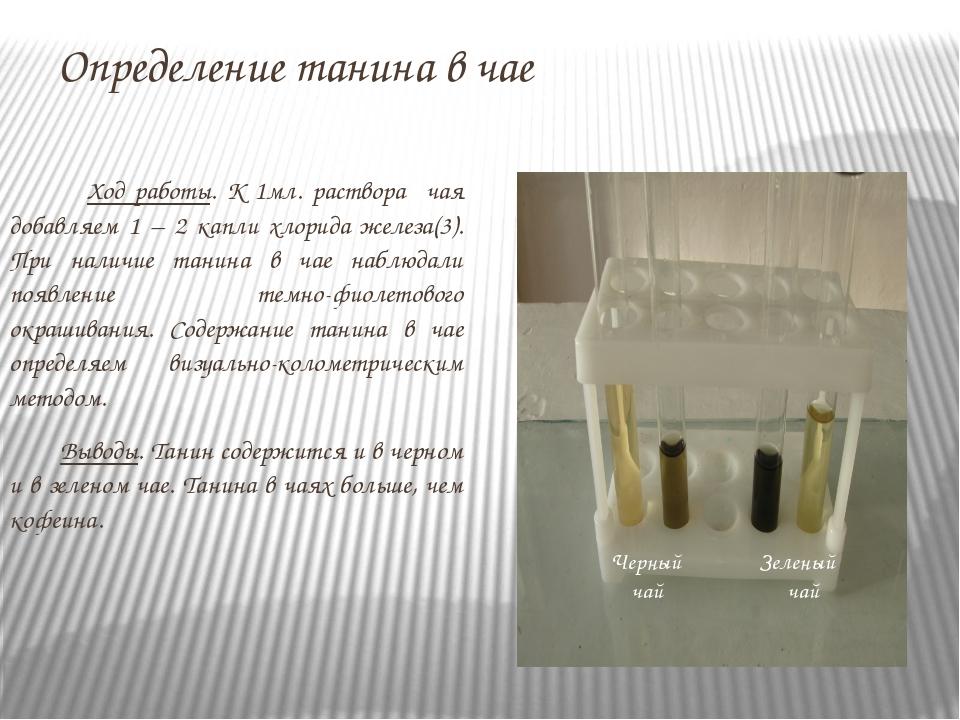 Определение танина в чае Ход работы. К 1мл. раствора чая добавляем 1 – 2 капл...