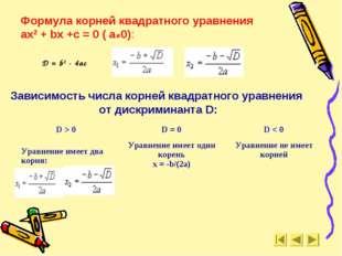 Формула корней квадратного уравнения ax2 + bx +c = 0 ( а≠0): Зависимость числ