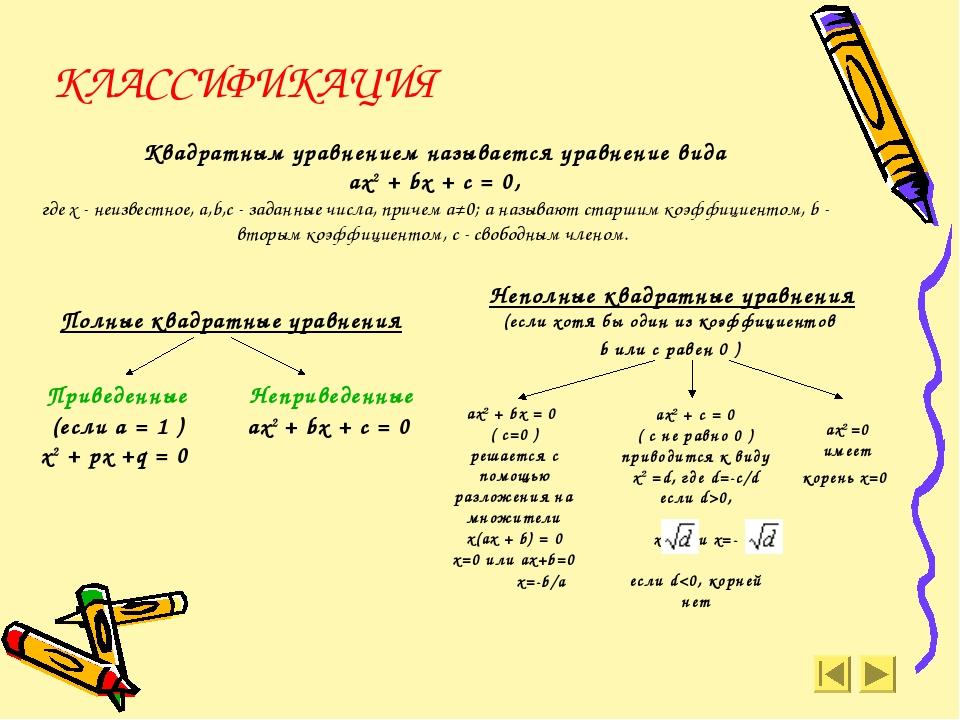 ах2 + bx = 0 ( с=0 ) решается с помощью разложения на множители х(ax + b) = 0...
