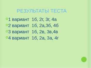 РЕЗУЛЬТАТЫ ТЕСТА 1 вариант 1б, 2г, 3г, 4а 2 вариант 1б, 2а,3б, 4б 3 вариант 1