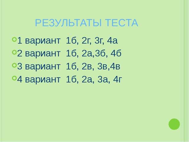 РЕЗУЛЬТАТЫ ТЕСТА 1 вариант 1б, 2г, 3г, 4а 2 вариант 1б, 2а,3б, 4б 3 вариант 1...