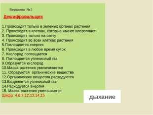 Вершина №2 Дешифровальщик 1.Происходит только в зеленых органах растения 2.