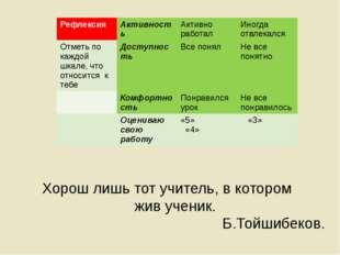 Рефлексия Хорош лишь тот учитель, в котором жив ученик. Б.Тойшибеков. Рефлек