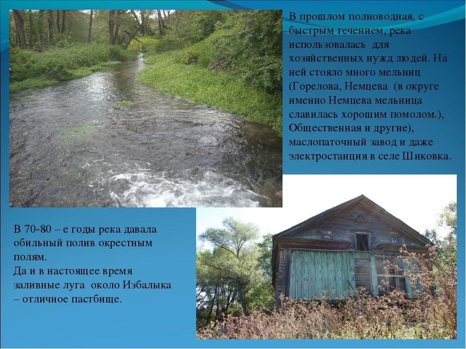 В прошлом полноводная, с быстрым течением, река использовалась для хозяйствен...