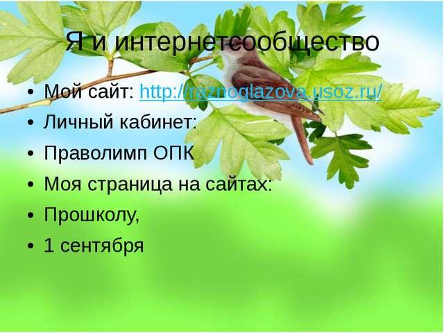 Я и интернетсообщество Мой сайт: http://raznoglazova.usoz.ru/ Личный кабинет:...