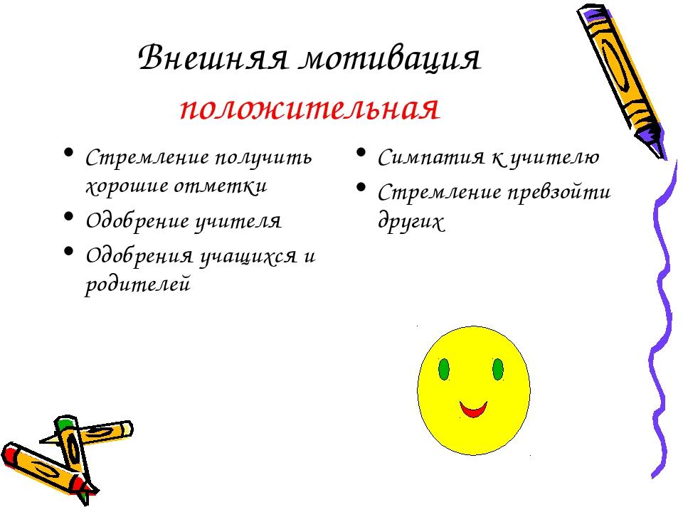Внешняя мотивация положительная Стремление получить хорошие отметки Одобрение...