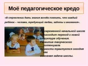 Моё педагогическое кредо «В стремлении дать знания всегда помнить, что каждый