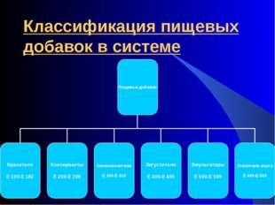 Классификация пищевых добавок в системе