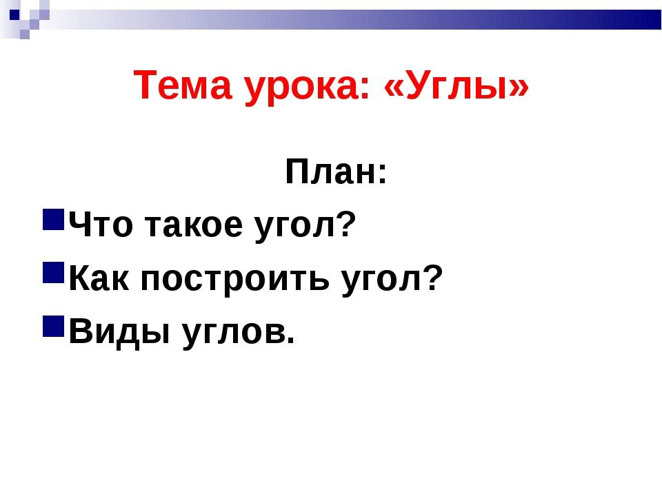 Тема урока: «Углы» План: Что такое угол? Как построить угол? Виды углов.