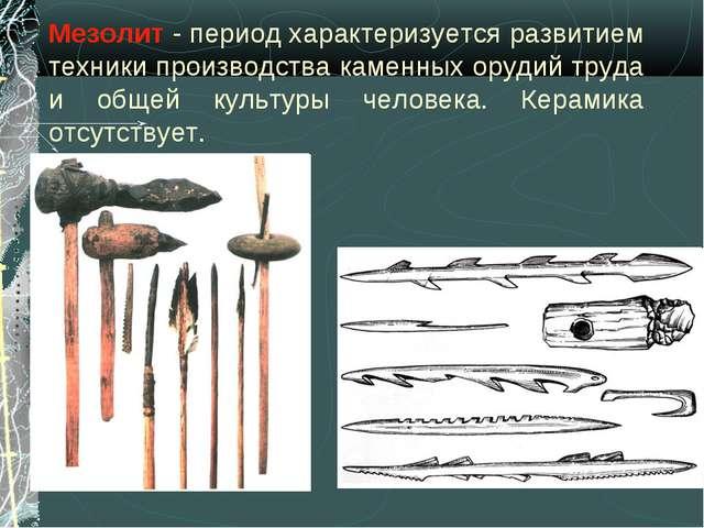 Мезолит - период характеризуется развитием техники производства каменных оруд...