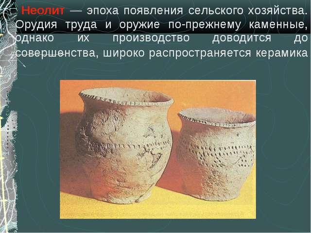 Неолит — эпоха появления сельского хозяйства. Орудия труда и оружие по-прежн...