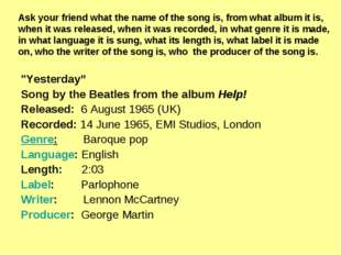 """""""Yesterday"""" Song by the Beatles from the album Help! Released: 6 August 1965"""