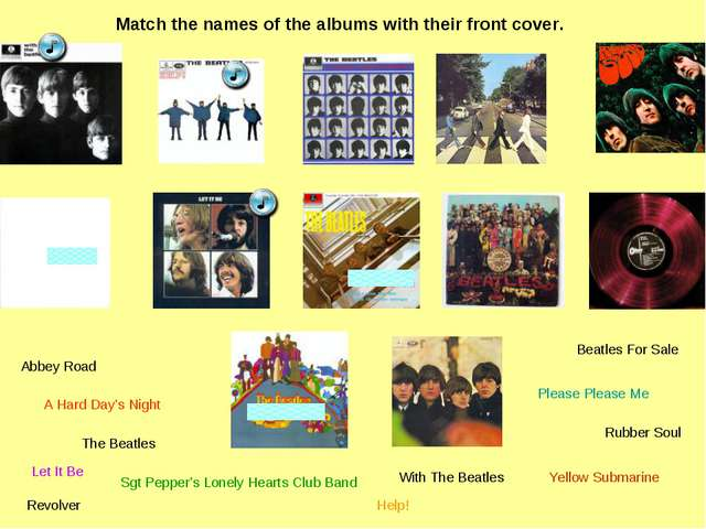Match the names of the albums with their front cover. Please Please Me With T...