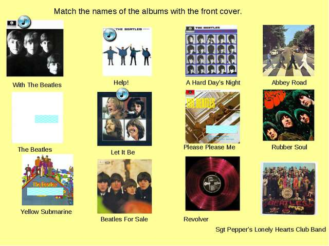 Match the names of the albums with the front cover. Please Please Me With The...
