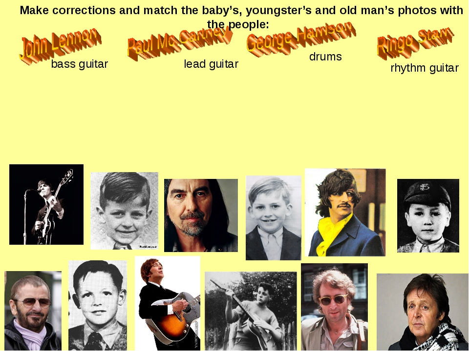 bass guitar lead guitar drums rhythm guitar Make corrections and match the ba...