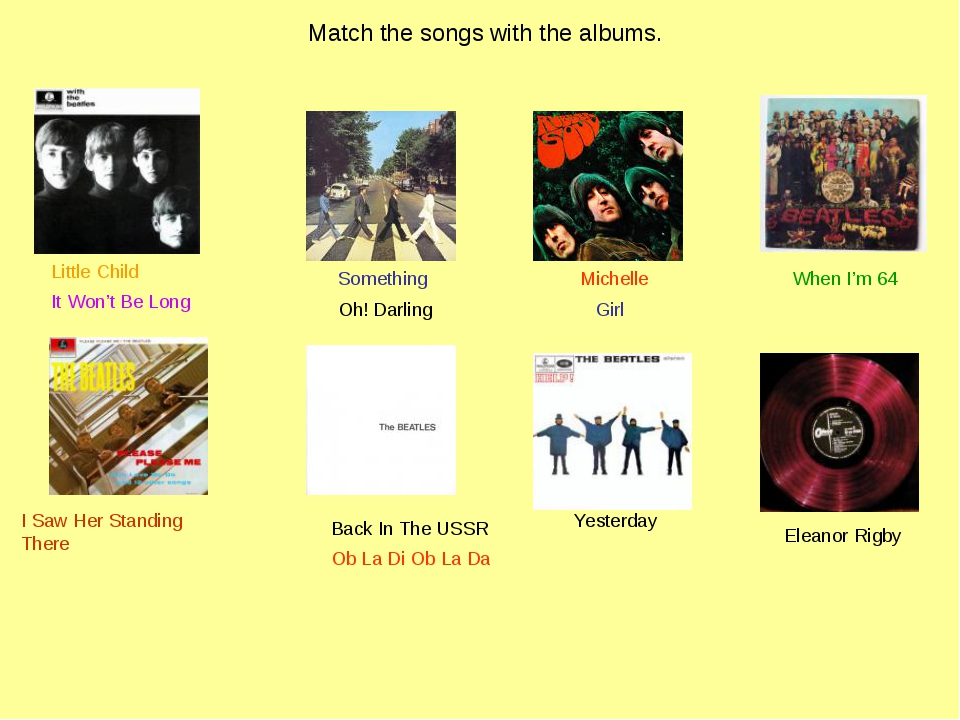 Match the songs with the albums. I Saw Her Standing There Yesterday Something...