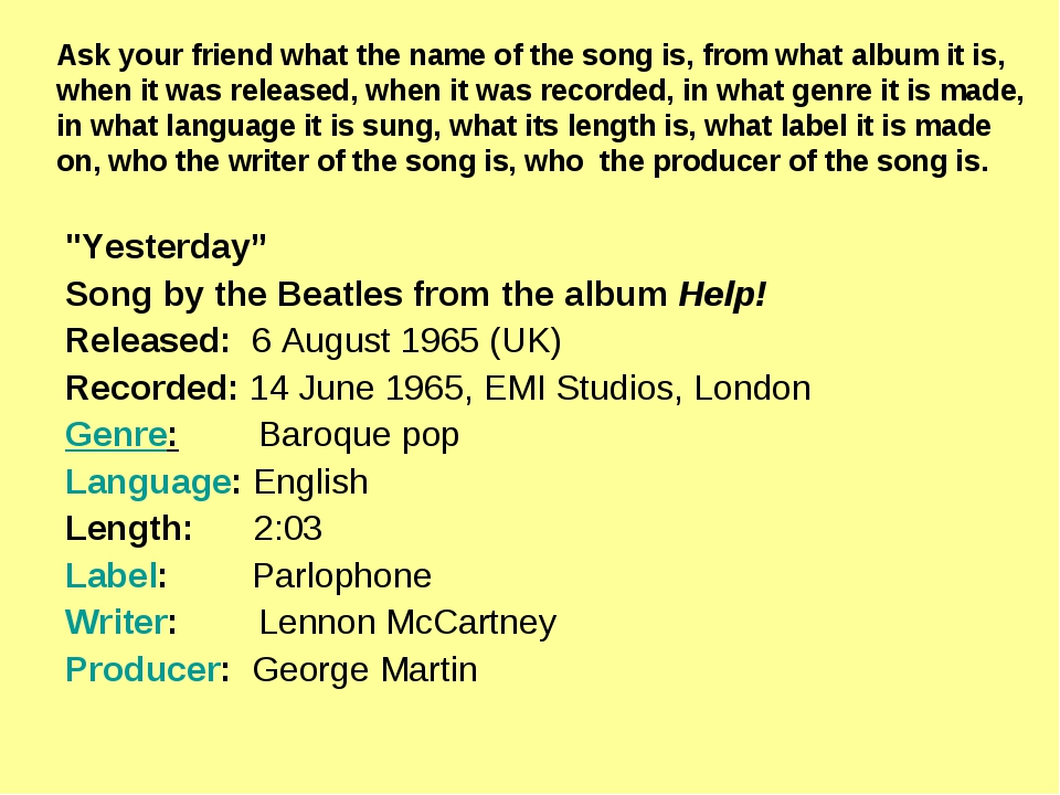 """""""Yesterday"""" Song by the Beatles from the album Help! Released: 6 August 1965..."""