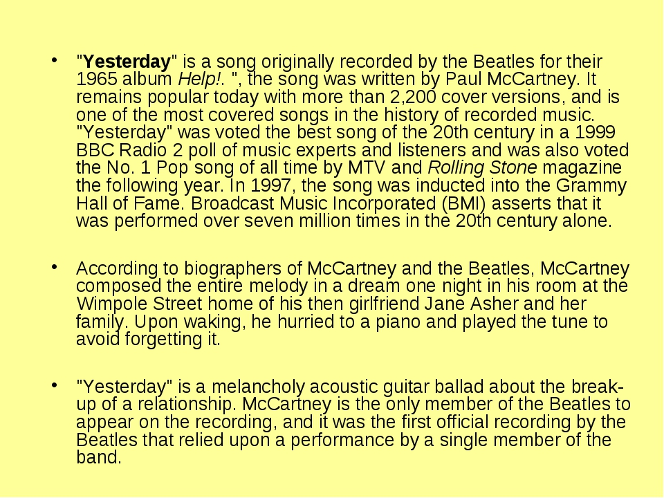 """""""Yesterday"""" is a song originally recorded by the Beatles for their 1965 album..."""