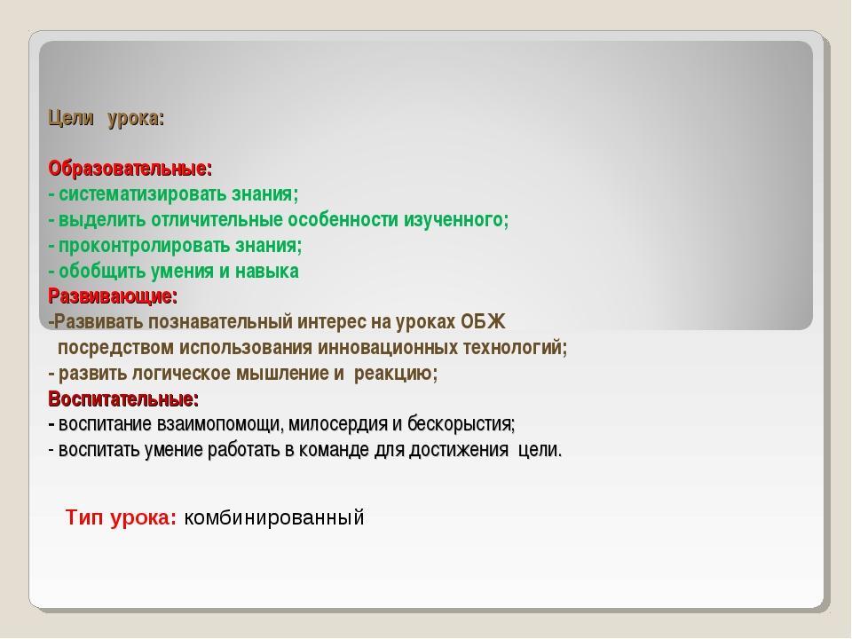 Цели урока: Образовательные: - систематизировать знания; - выделить отличител...