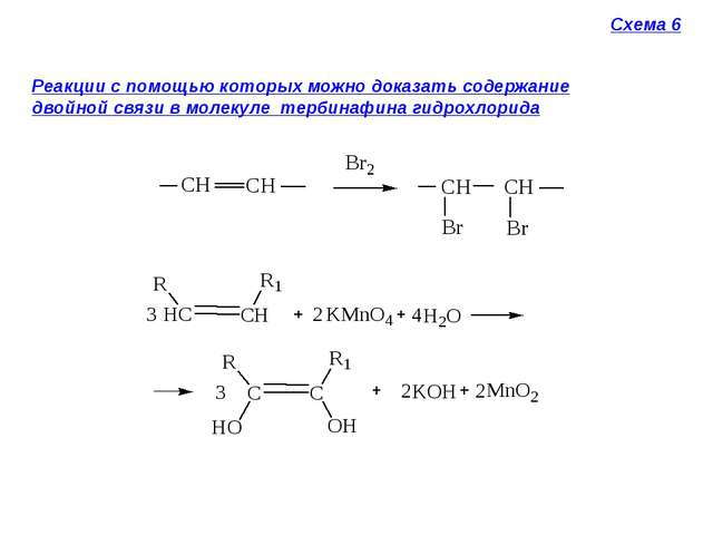 Схема 6 Реакции с помощью которых можно доказать содержание двойной связи в м...