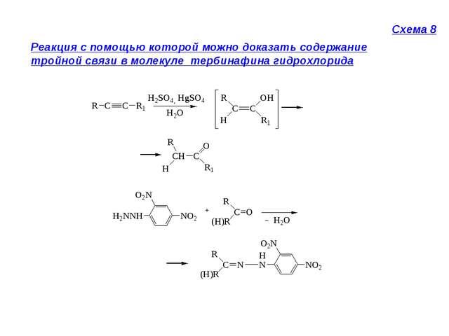Схема 8 Реакция с помощью которой можно доказать содержание тройной связи в м...
