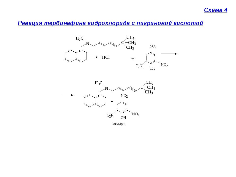 Схема 4 Реакция тербинафина гидрохлорида с пикриновой кислотой