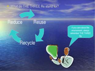 What do THE THREE Rs stand for? If you care about the environment, always rem