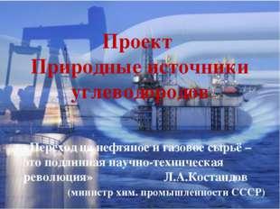 Проект Природные источники углеводородов «Переход на нефтяное и газовое сырьё