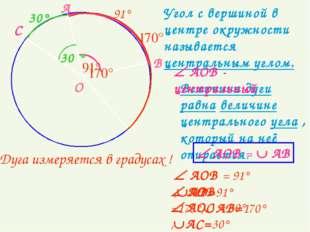 Угол с вершиной в центре окружности называется центральным углом. О А В 170°
