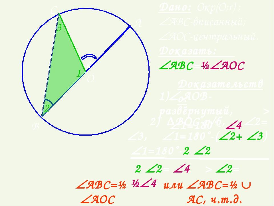 ● О А B C или АВС=½ ·АОС Дано: Окр(О;r) ; АВС-вписанный; АОС-центральный...