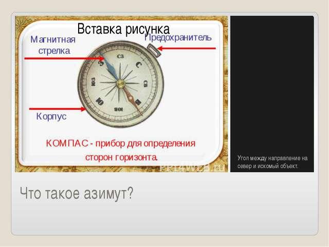 Что такое азимут? Угол между направление на север и искомый объект.