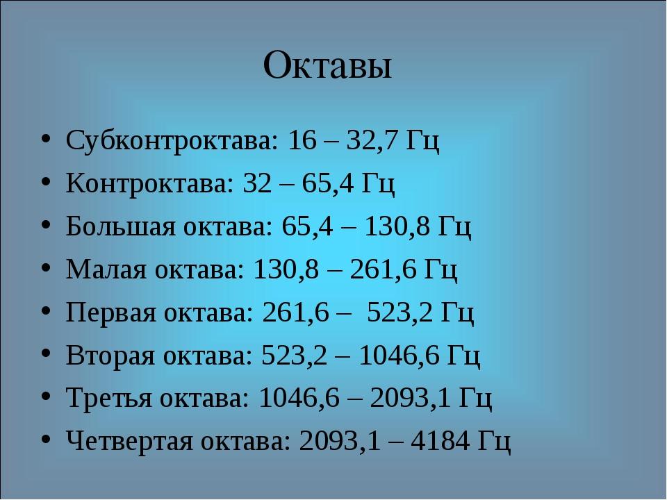Октавы Субконтроктава: 16 – 32,7 Гц Контроктава: 32 – 65,4 Гц Большая октава:...