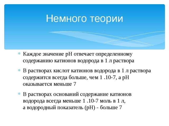 Каждое значение рН отвечаетопределенному содержаниюкатионов водорода в 1 л...