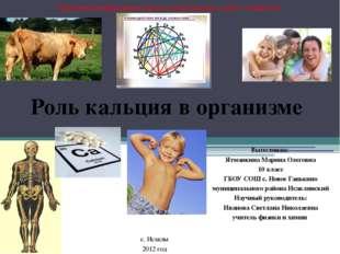 Выполнила: Ятманкина Марина, Роль кальция в организме Выполнила: Ятманкина Ма