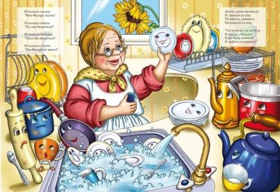 сказка Федорино горе с картинками, читать сказки Корнея Чуковского, сказка о здоровье