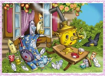 читать сказку с картинками Федорино горе, Корней Чуковский иллюстрации, сказки о здоровом образе жизни