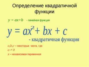 Определение квадратичной функции а,b,c – некоторые числа, где а ≠ 0 х – незав