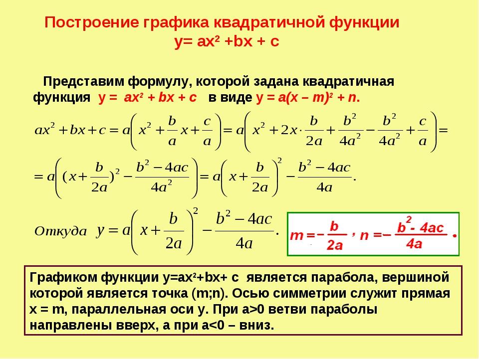 Построение графика квадратичной функции y= ах2 +bx + c Представим формулу, ко...