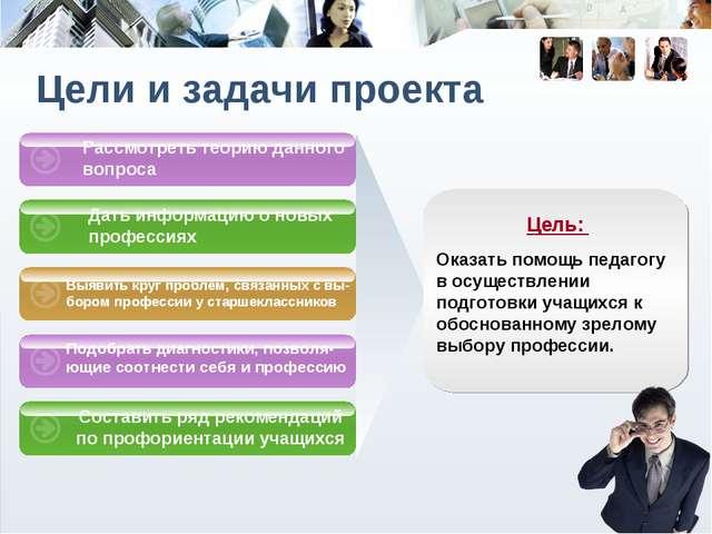 Дать информацию о новых профессиях Выявить круг проблем, связанных с вы-бором...