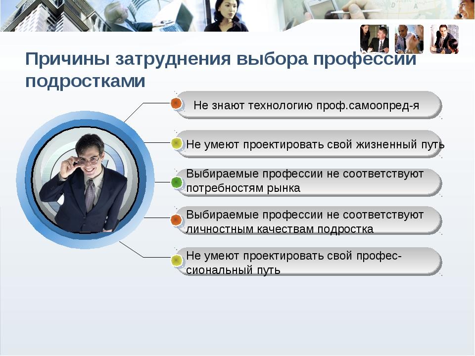 Причины затруднения выбора профессии подростками Не знают технологию проф.сам...