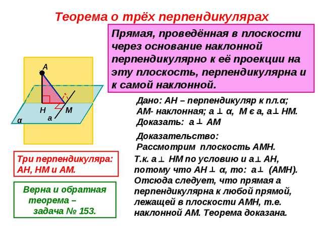 Теорема о трёх перпендикулярах α А Н М а Прямая, проведённая в плоскости чере...