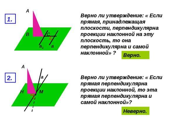 А В С а а1 1. Верно ли утверждение: « Если прямая, принадлежащая плоскости, п...