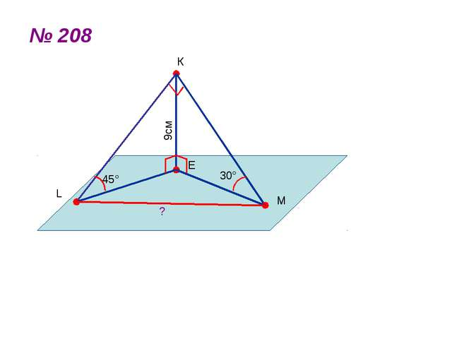 № 208 К L M E 45° 30° ? 9см