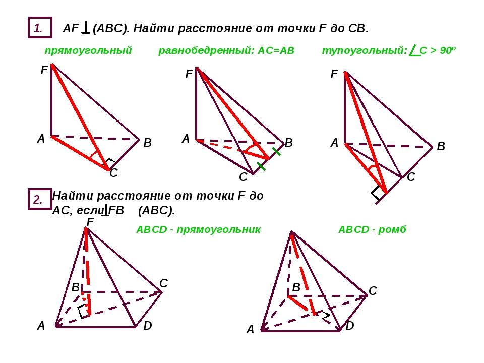 1. AF (ABC). Найти расстояние от точки F до СВ. прямоугольный равнобедренный:...