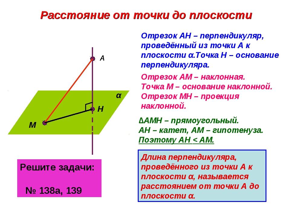 Расстояние от точки до плоскости α А Н М Отрезок АН – перпендикуляр, проведён...