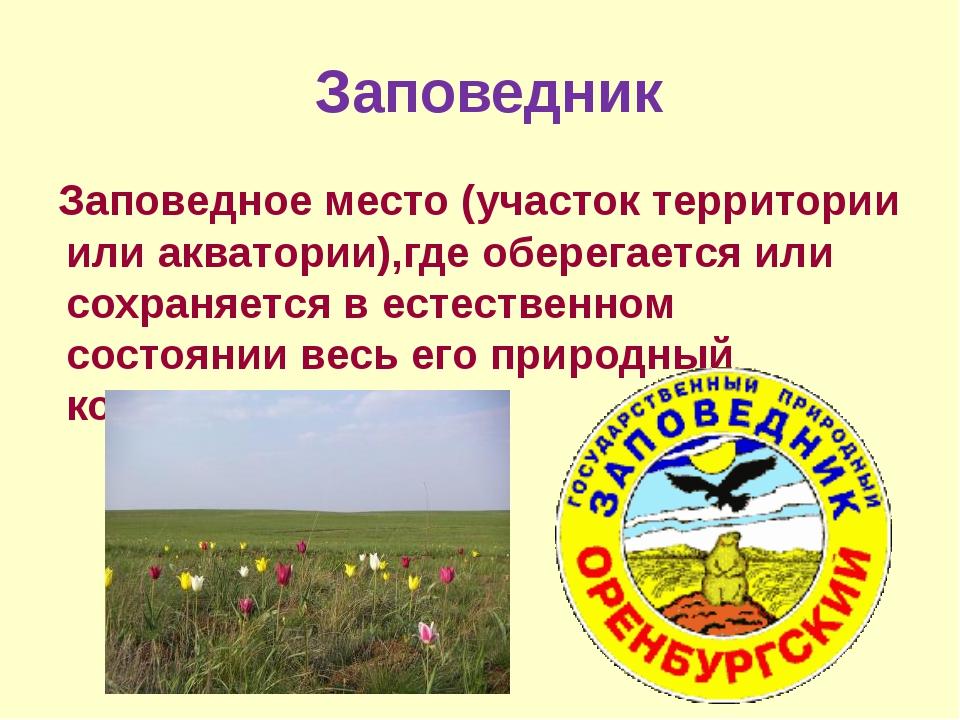 Заповедник Заповедное место (участок территории или акватории),где оберегает...