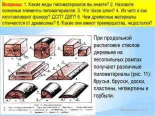 Вопросы: 1. Какие виды пиломатериалов вы знаете? 2. Назовите основные элемент