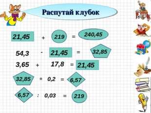 21,45 + 219 54,3 0,2 0,03 = - + 240,45 21,45 = = = 32,85 3,65 17,8 21,45 32,8