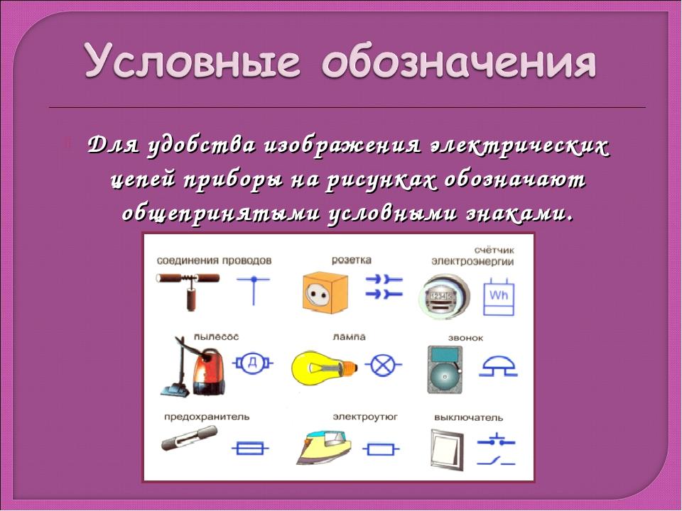 Для удобства изображения электрических цепей приборы на рисунках обозначают о...